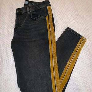Zara Skinny Jeans with Gold Velvet detailing